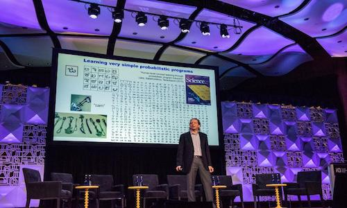 Josh Tenenbaum on stage at the MIT Quest for Intelligence launch.